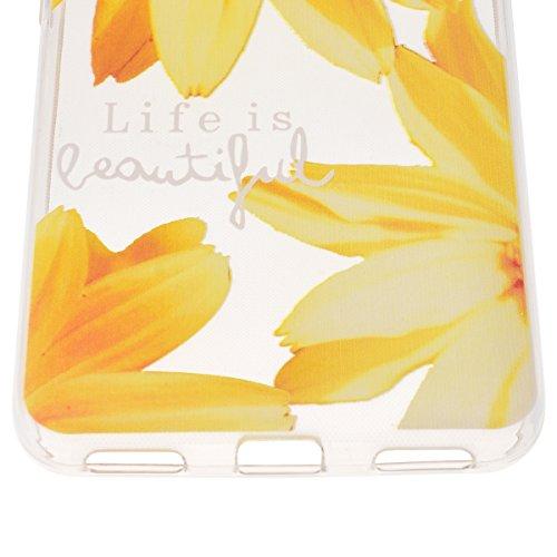 Funda Huawei G Play Mini / Honor 4C , We Love Case Suave Funda de Silicona TPU para Huawei G Play Mini Carcasa Transparente Diseño Dibujo Loto Azul Soft Silicone Case Cover Funda Blanda Flexible Carca Girasol Amarillo