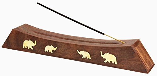 Indian Elephant Incense Holder - Aheli Wooden Handmade Incense Stick Holder with Storage Compartment - Eco Friendly Spiritual