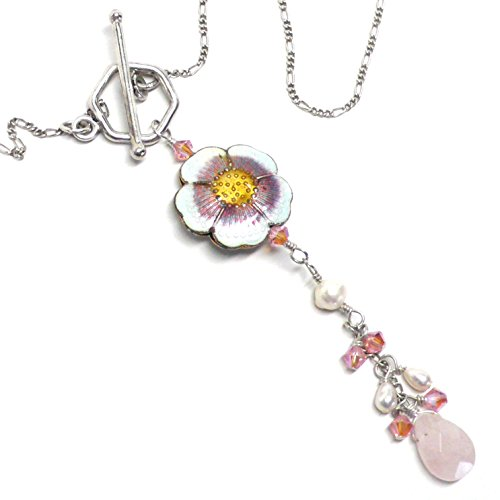 amel White Pink Flower Rose Quartz Crystal Cluster Drop Sterling Silver Chain Necklace ()