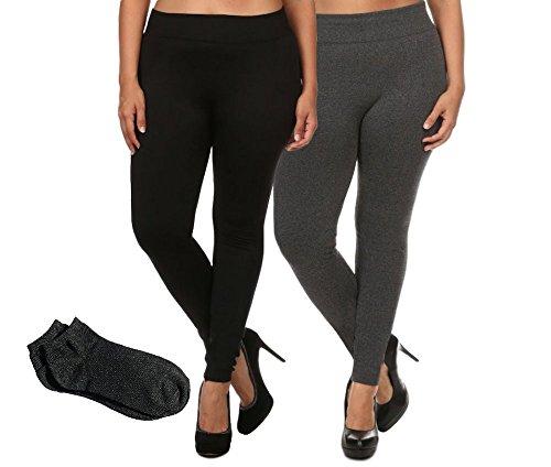 ShoSho Women's Everyday Warm Soft Solid Fleece Tight Leggings w/Free Socks (Plus (1X/2X, 2 Pack: Yado Black & Charcoal w/Free Socks) (Stockings Lined Size Plus)