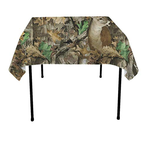 JACINTAN Square Solid Polyester Tablecloth for Wedding Restaurant Party Coffee Shop Picnic Christmas, Camo Deer Camouflage Hunting, 52 x 52 Inch