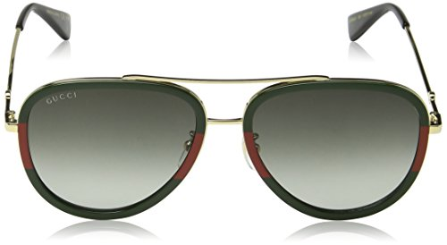 Gucci GG0062S 003 Gold / Green GG0062S Pilot Sunglasses Lens Category 3 Size 57