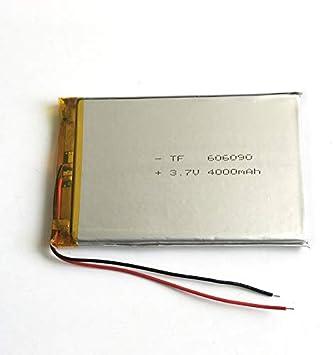 3,7 V 4000 mAh 606090 Lipo batería de polímero de litio recargable con cable (Pack de 2 unidades): Amazon.es: Electrónica