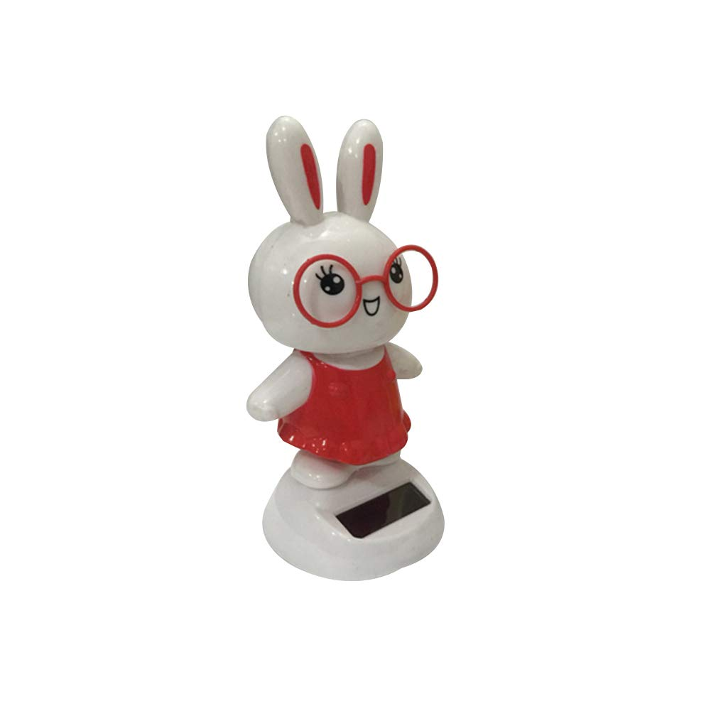 FAgdsyigao Cute Rabbit Pattern Solar Powered Swing Bobble Toy Car Interior Ornament Home Decor Kids Toys Red