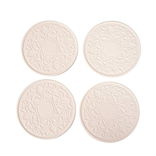 "CoasterStone EC400 Absorbent Stone Coasters, ""Victorian Lace Set of 4, White"