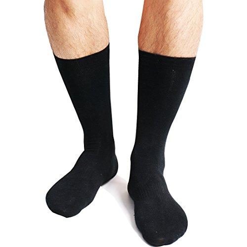Mercerized Cotton Dress Sock (Blank & Black Men's Premium Business Casual Mercerized Cotton Flat-Knit Socks, Daily Wear and Work, Pack of 3)