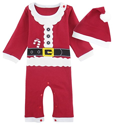 Mombebe Baby Christmas Costume Toddler Santa Claus Romper Hats (12-18 Months, Santa -