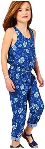 eKooBee Girls Kids Jumpsuit Blue Floral One Piece