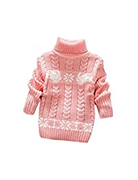 JELEUON Little Girls Baby Solid Color Turtleneck Winter Warm Polo Neck Sweater Tops