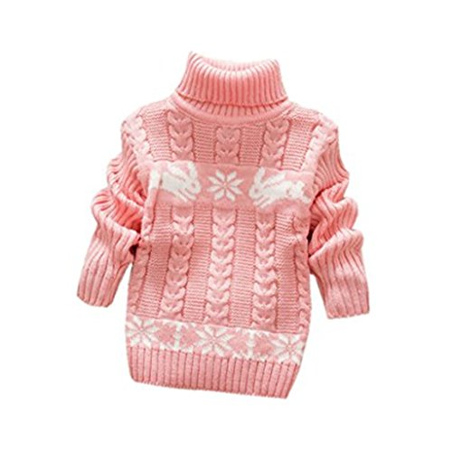 JELEUON Little Girls Baby Solid Color Turtleneck Winter Warm Polo Neck Sweater Tops L
