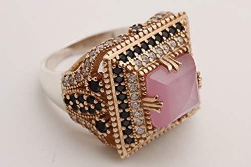 (Turkish Handmade Jewelry Square Shape Princess Cut Rose Gold Pink Cat's Eye Quartz and Round Cut Black White Topaz 925 Sterling Silver Ring Size Option)
