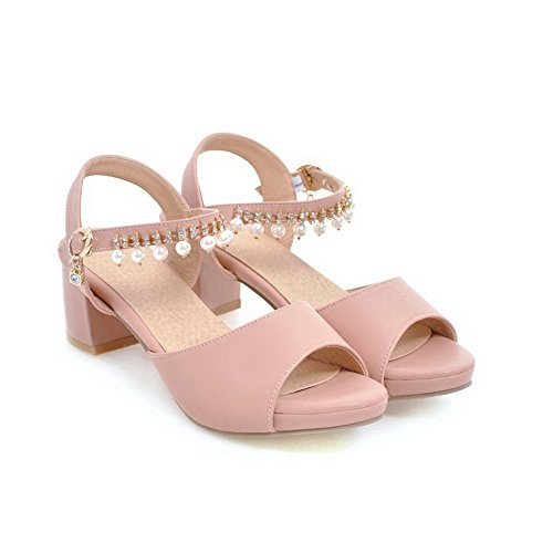 BalaMasa Pink Sandals Urethane Womens Huarache Heels Sandals ASL04814 Kitten nrWP1Tn