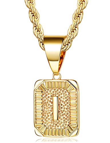 - Fiasaso I Letter Necklace for Men Women Gold Plated Initial Alphabet Pendant Necklace Rope Chain 4MM