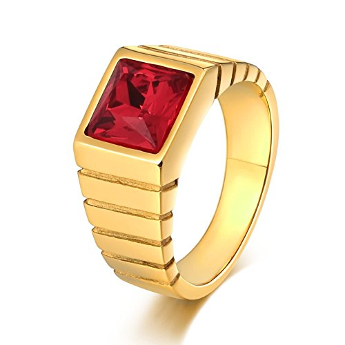 - AMDXD Jewellery Stainless Steel Wedding Rings for Men Square Cubic Zirconia Red Ring Size 11