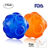 PERSUPER 3.6 Inch Durable Pet Dog Balls Toys Rubber Indestructible Dog Toy Ball Interactive Squeak Dog Ball Training Playing, Blue and Orange for Small,Medium and Large Dogs