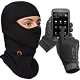 Touch Screen Gloves - Balaclava Full Face Mask Set (Black, Small)