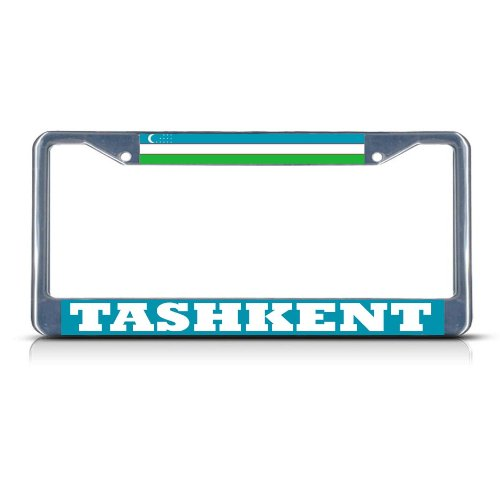 UZBEKISTAN TASHKENT Chrome Heavy Duty Metal License Plate Frame Tag Border