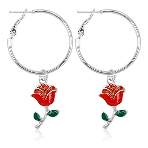 Clearance! Creazrise Big Round Dangle Earrings Red Rose Hook Pendant Earrings (Silver)