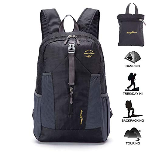 Ultra Lightweight Packable Water Resistant Travel Hiking Backpack Handy Foldable Daypack 20L Black (Outlander Large Packable Handy Lightweight Travel Backpack Daypack)