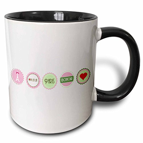 (3dRose InspirationzStore French theme - Pink and Green Love Paris girly design - Eiffel tower Bonjour heart and oh la la frilly circles - 15oz Two-Tone Black Mug)