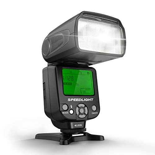 GEEKOTO Flash Speedlite, Off-Camera Flash, Flash Strobe Light, Flash Monolight GN38 with LCD Display for Canon Nikon and Other DSLR Cameras with Standard Hot Shoe