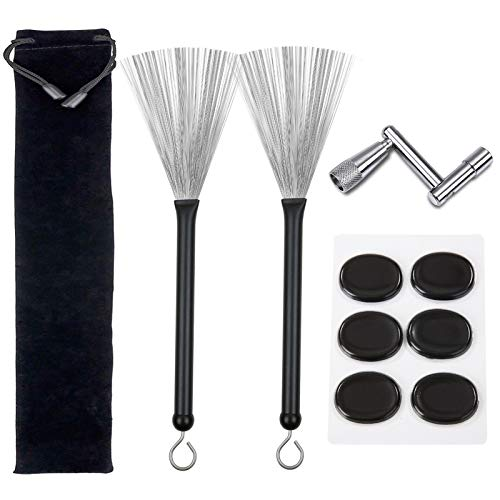 Drum Brushes Set, 1 Pair Retractable Drum Wire Brushes with Aluminum Handles, 6 Pcs Silicone Drum Dampeners Gel Pads and 1 Pcs Continuous Motion Speed Drum Key for Drummers Beginners Gifts (Black)