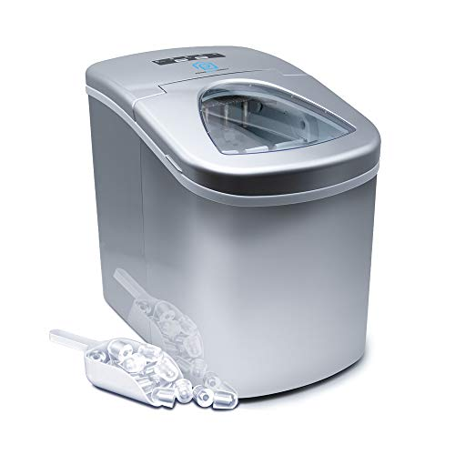 Prime Home Portable Stainless Steel Counter Top Ice Maker Machine - Ice Cubes Ready in 8 Minutes - Makes 26 lbs of Ice in 24 hrs - Electric Ice Making Machine with Ice Scoop and 1.5 lb Ice Storage