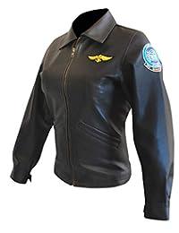 Women Top Gun Kelly McGillis (Charlie) Bomber Black Pilot Aviator Leather Jacket