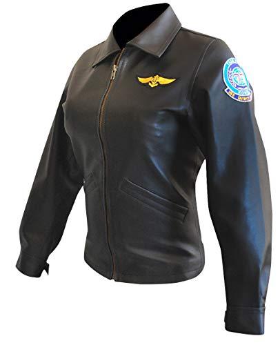Women Top Gun Kelly McGillis (Charlie) Bomber Black Pilot Aviator Leather Jacket (XXXL, Real Leather)]()