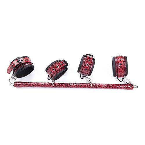 KIMMAO PU Handcuffs Bońdáge Iron Pipe Leather Diamond-Pattern footcuffs Removable The Handcuffs Suitable for Leather for Stage Props, Halloween Games and Other Activities (red)]()