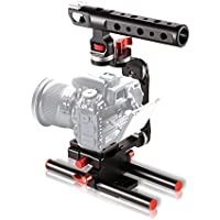 COOCHEER Aluminum Alloy Camera Cage,DSLR Rig Handle Video Stabilizer Cage Kit Film Movie Making for all ILDC and DSLR Sony NEX -5T Canon Nikon With Handle Grip to Mount Microphone Monitor LED Flash