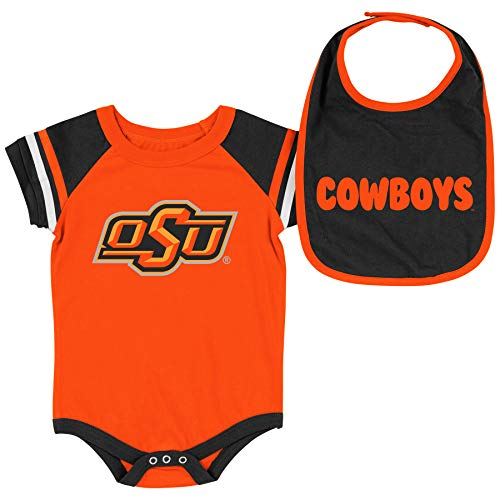 Colosseum NCAA Baby Short Sleeve Bodysuit and Bib 2-Pack-Newborn and Infant Sizes-Oklahoma State Cowboys-0-3 ()