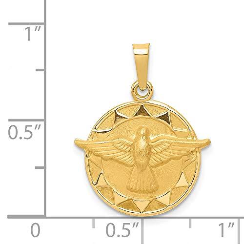 14k Yellow Gold Engravable Holy Spirit Medal Round Pendant