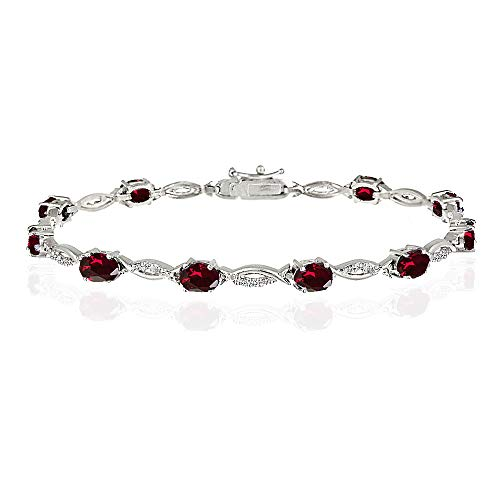 GemStar USA Sterling Silver Created Ruby and White Topaz Oval-Cut Swirl Tennis ()