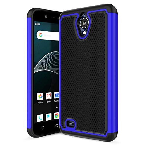 Att Silicone - At&t AXIA QS5509A Case, Cricket Vision Casew/ [ 180°Protection ] [ Rubber Silicone ] [ Non-Slip Design ] Hybrid Dual Layer Shockproof Anti-Scratch Rugged Bumper Armor Cover for At&t AXIA-Blue
