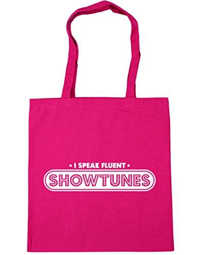 HippoWarehouse I Speak Fluent Showtunes Tote Shopping Gym Beach Bag 42cm x38cm, 10 litres Fuchsia