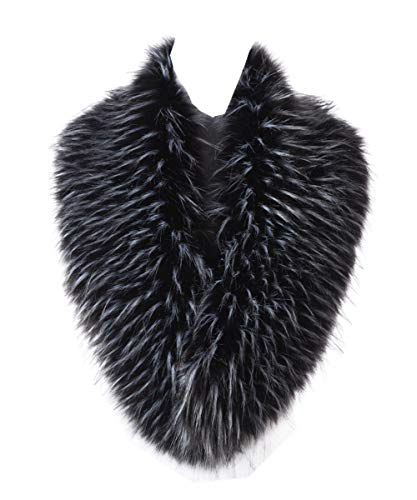 - Lucky Leaf Women Winter Faux Fur Scarf Wrap Collar Shrug for Wedding Evening Party (Black mix White)