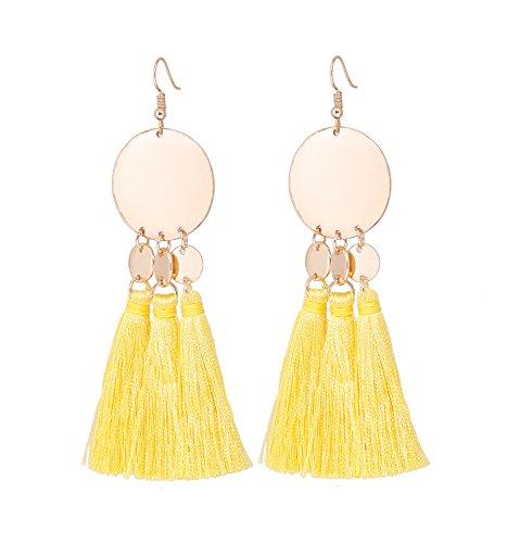 HSWE Handmade Tassel Earring for Women Multistrand Threaded Fringe Dangle Earrings Round Disc Metal Pendant Earrings Drop (Orange)