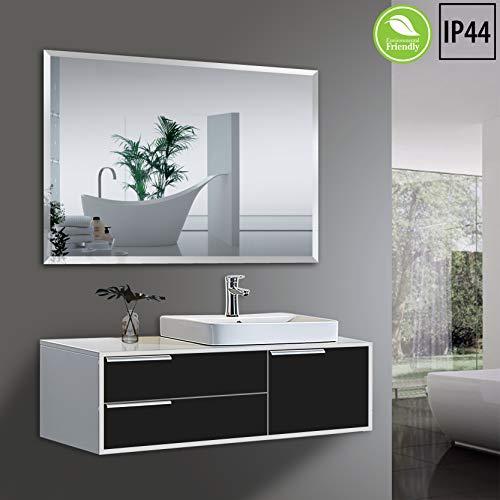 Yukon Large 30x42 Rectangular Frame-Less Beveled Wall Mirror | Premium Silver Backed -
