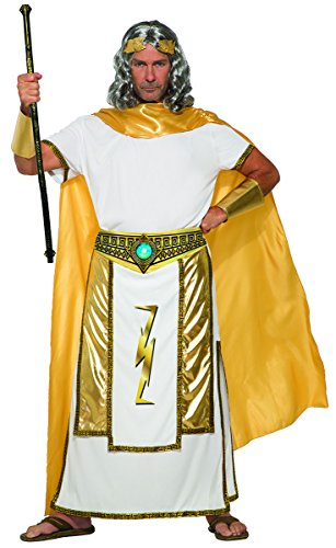 Forum Men's Mythical Zeus Costume Tunic with Cape, Gold/White, (Greek Mythical Creatures Costumes)