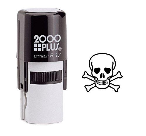 Poison Skull Self Inking Rubber Stamp - Black Ink (A-6049) (Stamp Skull)