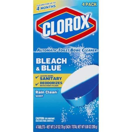 - Clorox Automatic Toilet Bowl Cleaner, Bleach & Blue, Rain Clean Scent, 2.47 oz, 12 pk