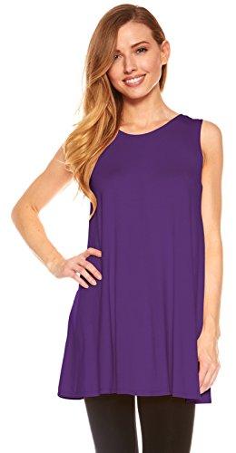 Womens Sleeveless Tunics - Women Flowy Tunic Tank Tops Leggings (Purple-S)