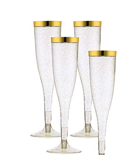 50 Gold Rimmed Sparkle Plastic Champagne Flutes, Gold Glitter, 6.5 Oz Reusable Heavy Duty Wine Glass, Clear Plastic Toasting Glasses, Disposable Plastic Wine Glasses, cups for Bachelorette -