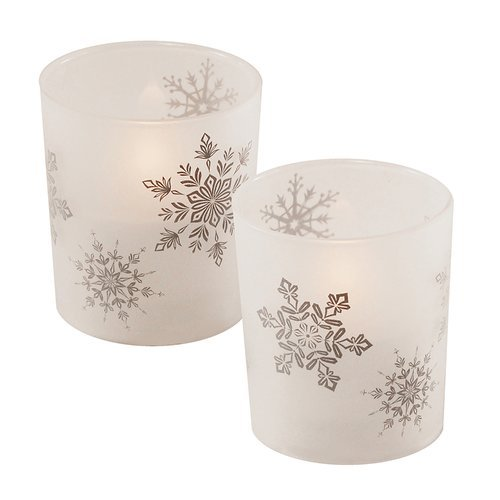 OKSLO Red Barrel Studio Snowflakes Glass Unscented Candle (Set of 2)
