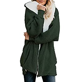 Women's Oversized Full Zip Up Sherpa Hoodie Fleece Jacket with Pockets