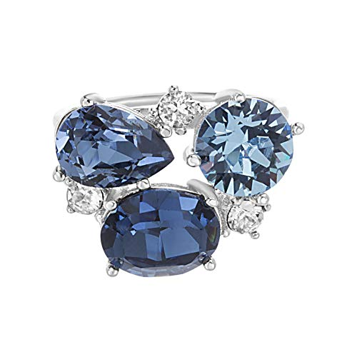 - Devin Rose Cluster Style Ring for Women in Rhodium Plated Brass with Swarovski Crystal (Color: Aquamarine, Montana, Blue Denim)
