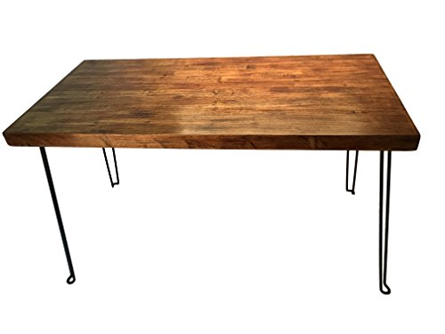 Sleekform Rustic Solid Wood Desk | Vintage Table with Foldable Metal Hairpin Legs | Industrial Look in Walnut Color & Smooth Finish | Retro Writing Desk Combines Hardwood with Steel | No Assembly (Rustic Wood)