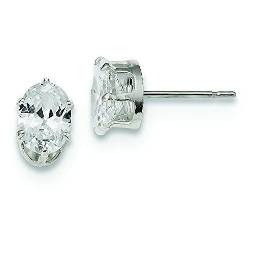 - .925 Sterling Silver 7 MM 7x5 Oval Snap-In Post Stud Earrings