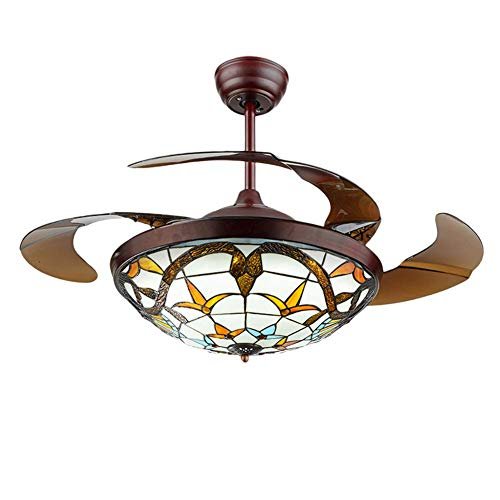 Fandian 42 Tiffany Style Ceiling Fan with Light Classic LED Chandelier Remote Control Retractable Blades 3 Speeds 3 Light Changes Ceiling Lamp Lighting Fixture, Silent Motor Craft-made Colorful Lamps